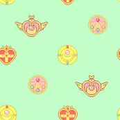 Tiny Mint Moon Badges
