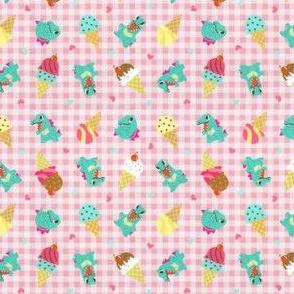 Gingham Kawaii Ice Cream Dino