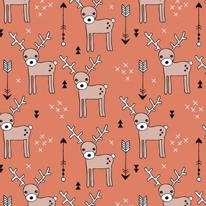 Adorable woodland reindeer and arrows illustration kids pattern design in beige and orange