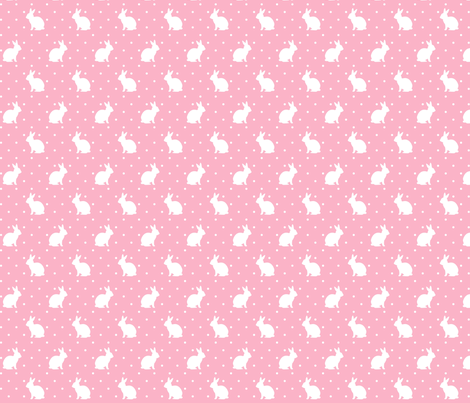 Rabbits and Spots white on Pink fabric by hazelfishercreations on Spoonflower - custom fabric