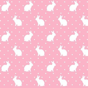 Rabbits and Spots white on Pink