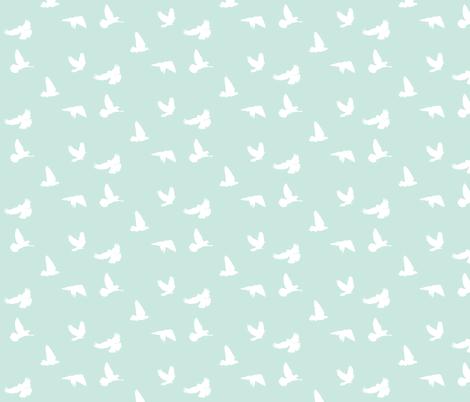 Doves in Flight, SeaSpray fabric by thistleandfox on Spoonflower - custom fabric
