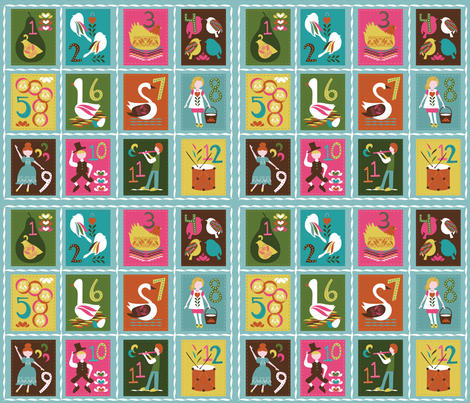 12 Days of Christmas fabric by estherbleydesigns on Spoonflower - custom fabric