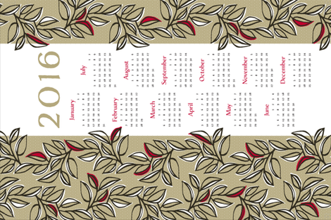 leaves calendar towel fabric by monmeehan on Spoonflower - custom fabric