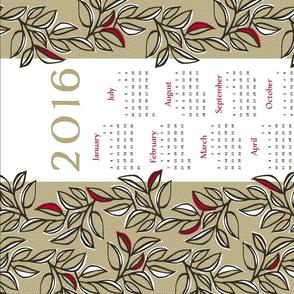 leaves calendar towel