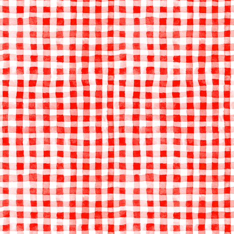 Red Watercolor Gingham fabric by kirsten_sevig on Spoonflower - custom fabric