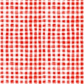 Red Watercolor Gingham