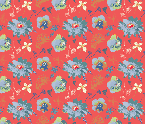 In Bloom, red fabric by michellegracedesign on Spoonflower - custom fabric