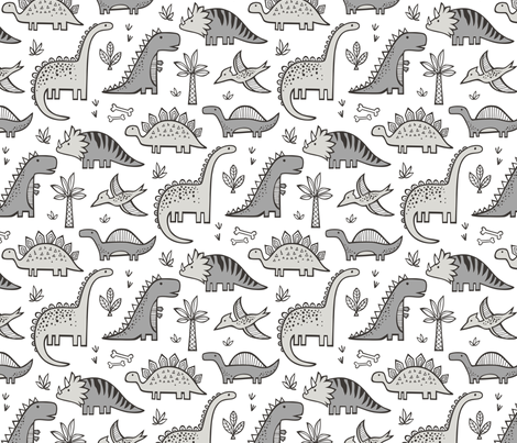 Dinosaurs in Grey fabric by caja_design on Spoonflower - custom fabric