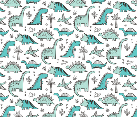 Dinosaurs fabric by caja_design on Spoonflower - custom fabric