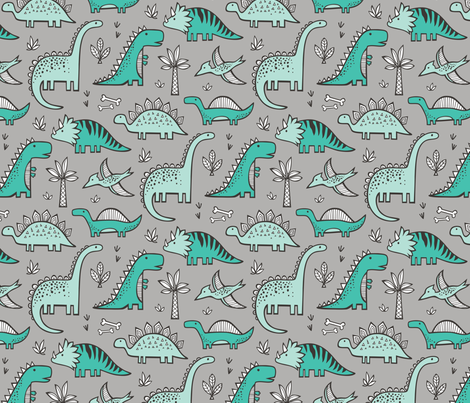 Dinosaurs on Grey fabric by caja_design on Spoonflower - custom fabric