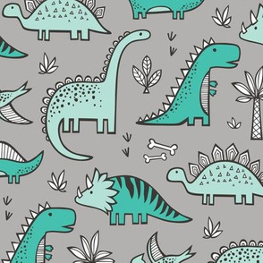 Dinosaurs on Grey