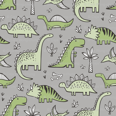 Dinosaurs in Green on Grey
