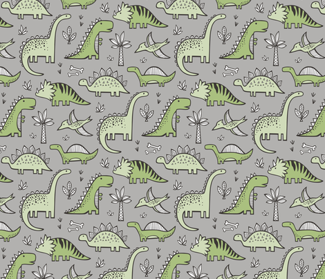 Dinosaurs in green on grey fabric caja design spoonflower for Grey dinosaur fabric