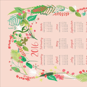 Garden Foliage in Pink 2016 Calendar Tea Towel