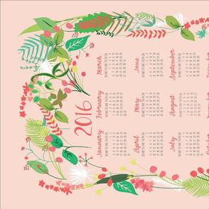 Garden Foliage in Pink 2016 Calendar Tea Towel