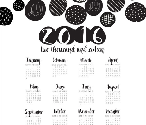 2016 Tea Towel Calendar Black and White Graphic Circles