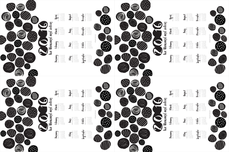 2016 Tea Towel Calendar Black and White Graphic Circles fabric by emilyannstudio on Spoonflower - custom fabric