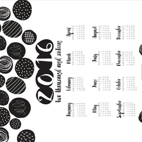 2016 Tea Towel Calendar Black and White Graphic Circles