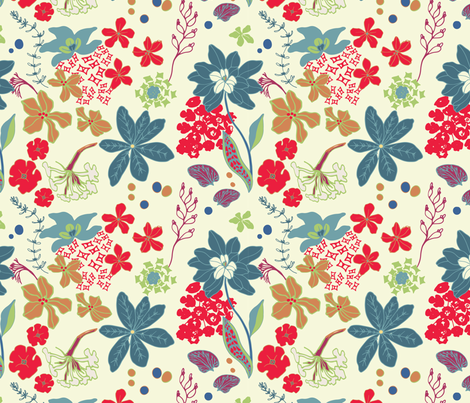 Garden Spectacular, Cream fabric by michellegracedesign on Spoonflower - custom fabric