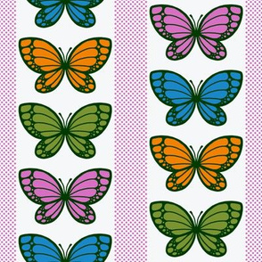 Butterflies Flying Stripes (White)