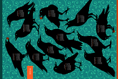 2016 Raven Tea Towel Calendar fabric by mariafaithgarcia on Spoonflower - custom fabric
