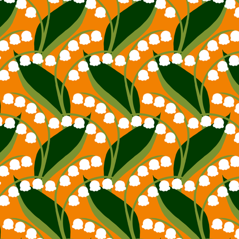 Butterflies - Lily-of-the-Valley (Orange) fabric by siya on Spoonflower - custom fabric