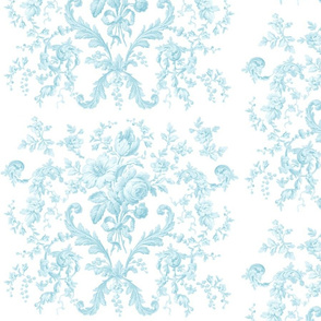 Faded Rococo Roses in aqua on white