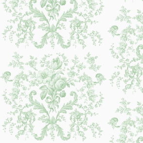 Faded Rococo Roses in basil on white
