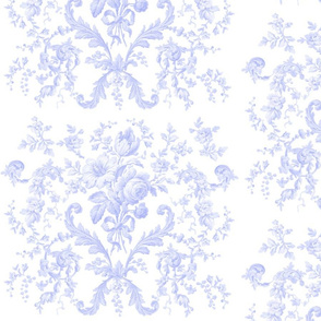 Faded Rococo Roses in blue violet on white