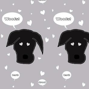 Black Lab Dog of Hearts in Grey