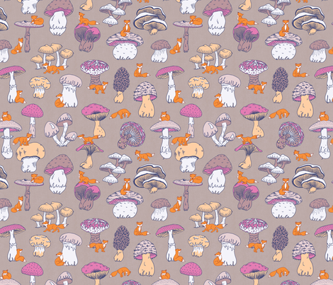 Foxes and Mushrooms fabric by thelazygiraffe on Spoonflower - custom fabric