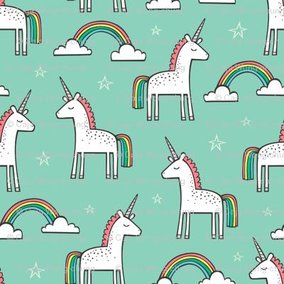 Cute Unicorn Rainbow in Mint
