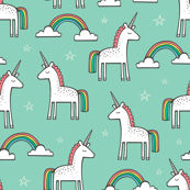 Cute Unicorn Rainbow in Mint