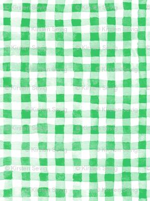 Green Watercolor Gingham