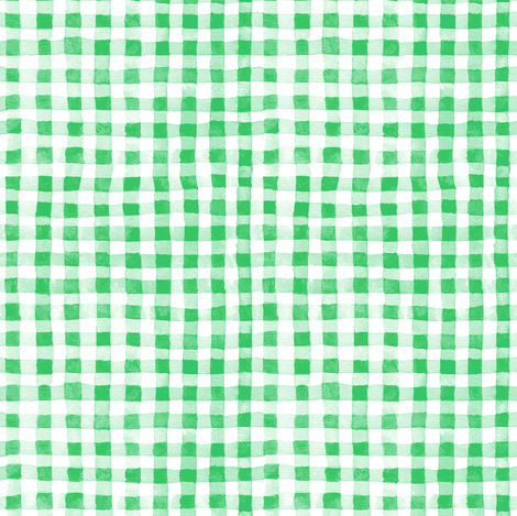 Green Watercolor Gingham fabric by kirsten_sevig on Spoonflower - custom fabric