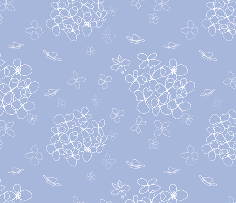 Hydrangea blue and white fabric by michellegracedesign on Spoonflower - custom fabric