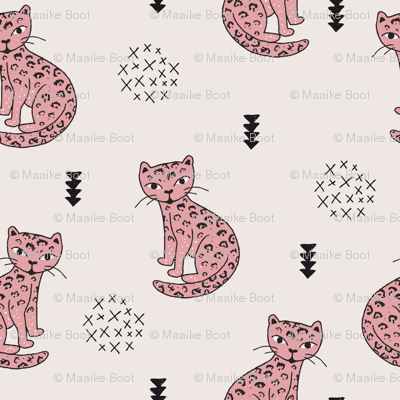 Adorable girls tiger kitten fun panther style cat illustration and geometric details beige and soft pastel pink XS