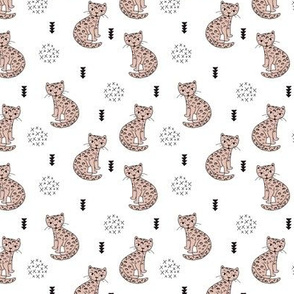 Adorable gender neutral tiger kitten leopard fun panther style cat illustration and geometric details beige black and white XS