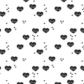 Sweet love scandinavian hearts cool pastel blue valentine and wedding theme black and white XS - Little Smilemakers