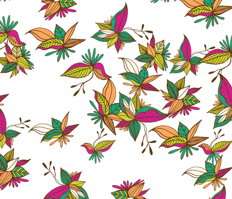 Leaves white fabric by patriciasodre on Spoonflower - custom fabric