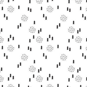 Scandinavian style christmas trees geometric woodland print in black and white XS