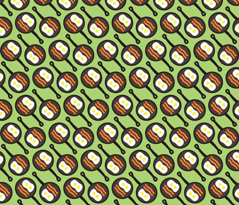 Dean's Bacon and Eggs in a Pan ~ Diagonal fabric by midcoast_miscellany on Spoonflower - custom fabric