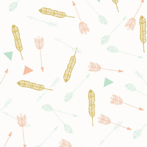 Gold Feathers & Mint Arrows