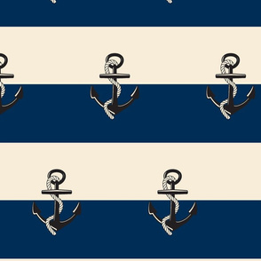Anchor Stripes -Large  vanilla Navy