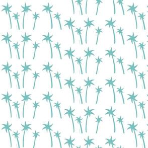 palms White - MEDIUM teal mist