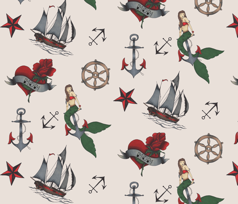 classic sailor tattoo fabric cream background fabric