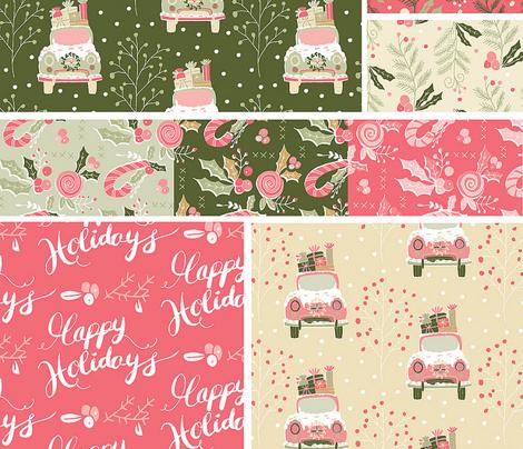 Happy Holidays Handwriting Pink