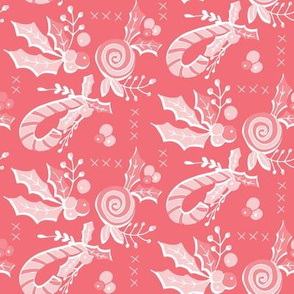 Holly leaves and Candy Canes Pink