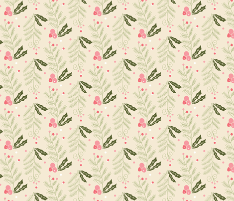 christmas pine holly berry fabric by verysarie on Spoonflower - custom fabric